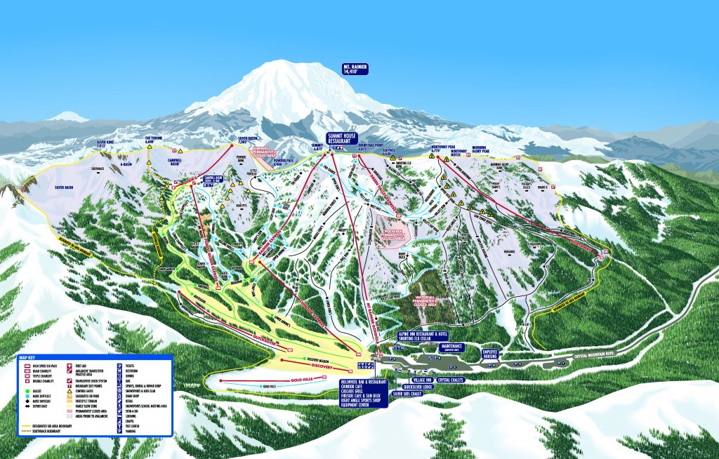 Crystal Mountain trail map 2018/19