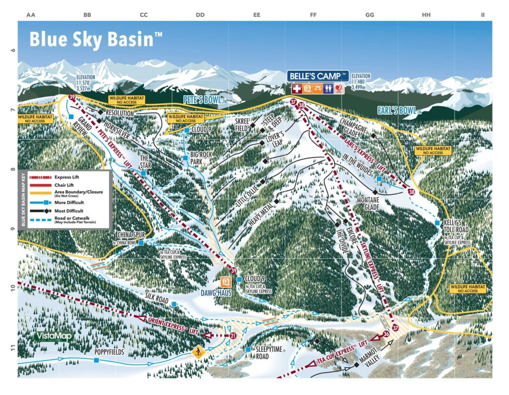 Vail Trail Map (Blue Sky) 2018/19