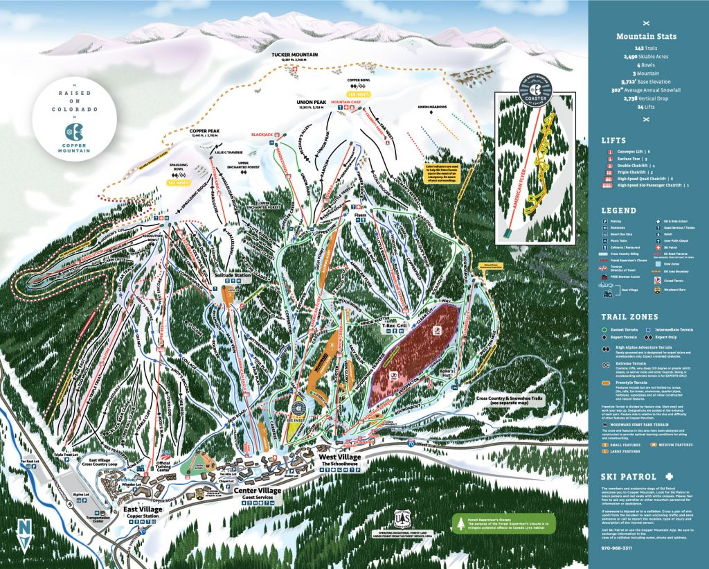 Copper Mountain trail map 2017/18