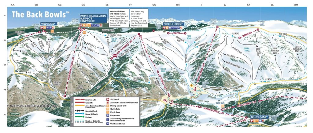 Vail Trail Map (Back bowls) 2018/19