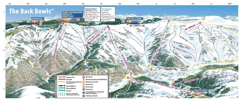 Vail Trail Map (Back bowls) 2018/19