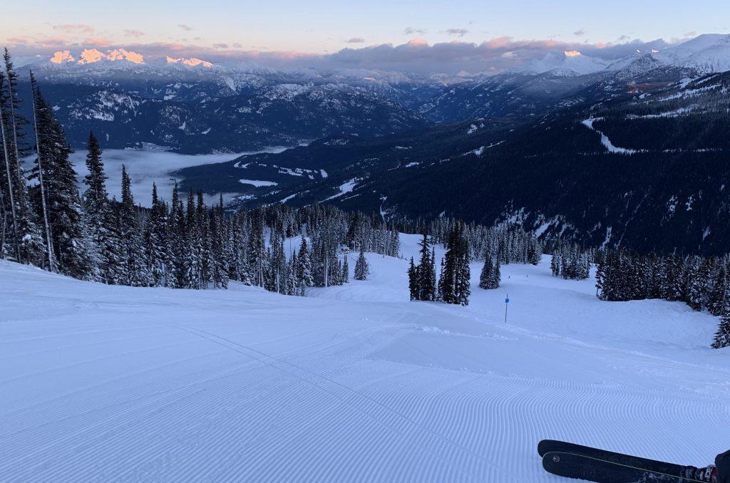 First tracks at Whistler before sunrise