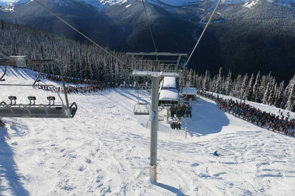 30-minute lift line at 7th Heaven on a powder day, December 2018