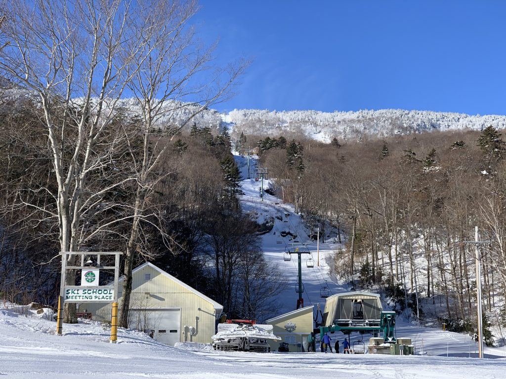 Looking up Chair #2 at Mad River Glen, January 2019