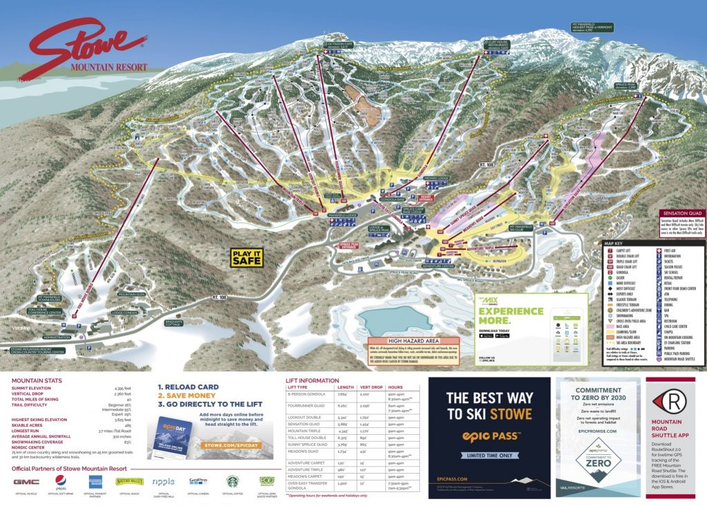 Stowe Trail Map 2018/19