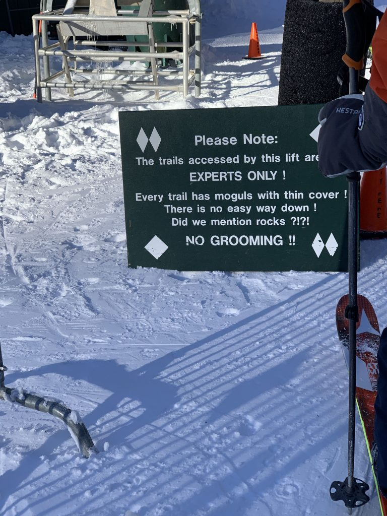Scary signage at the Sugarbush Castlerock chair, January 2019