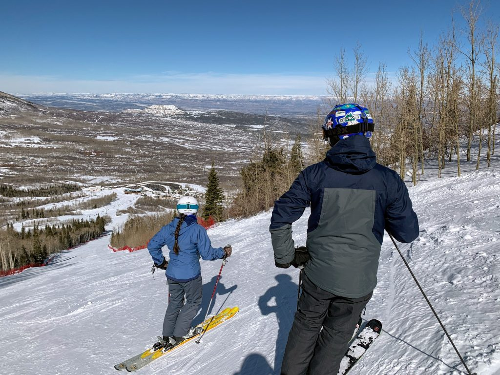 "Ron and Nancy atop ""Wonderbump"" at Powderhorn, February 2019"