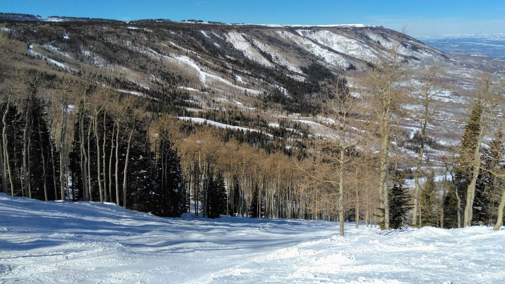 The Grand Mesa is a large flat-top mountain. Powderhorn sits on the north side of it. February 2019
