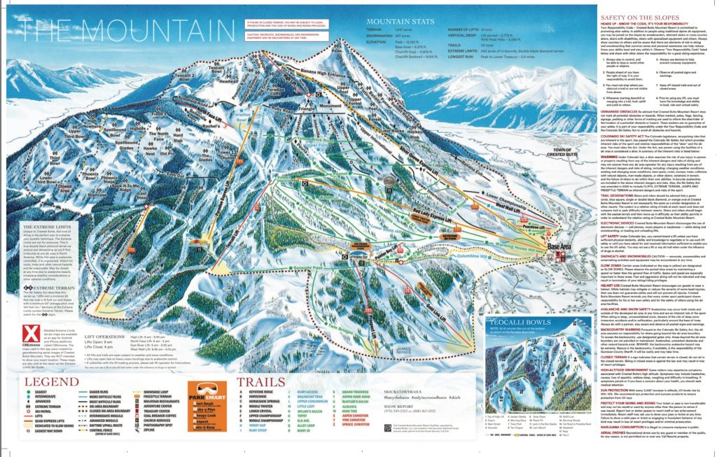 Crested Butte trail map, 2018-19