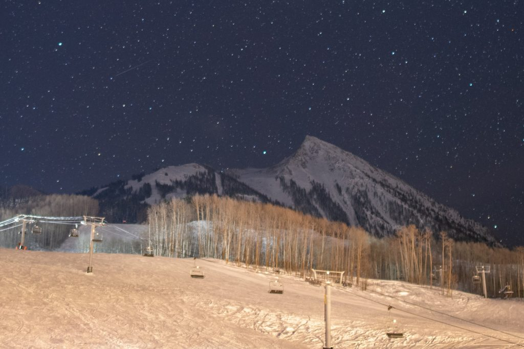 Mt. Crested Butte at night, March 2019