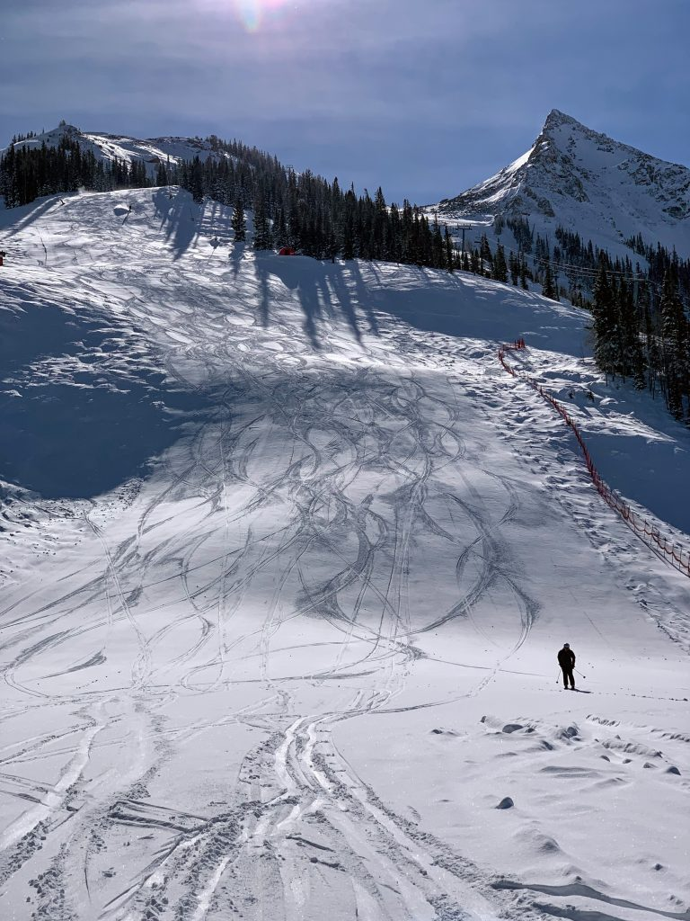 Nice steep groomers at Crested Butte, March 2019