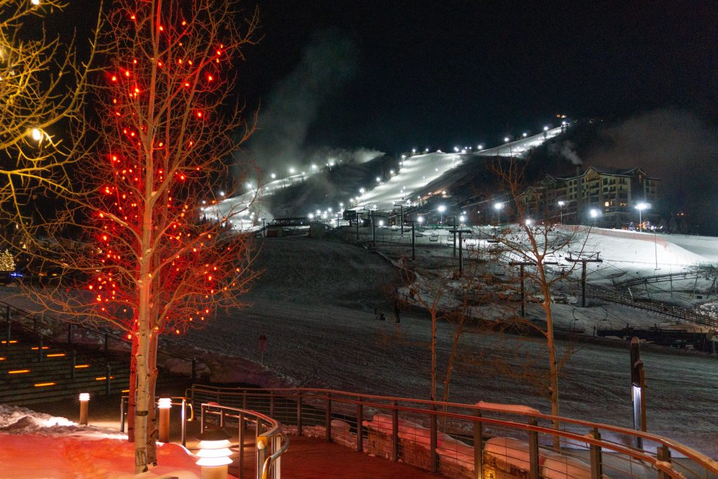Night skiing at Steamboat, December 2019