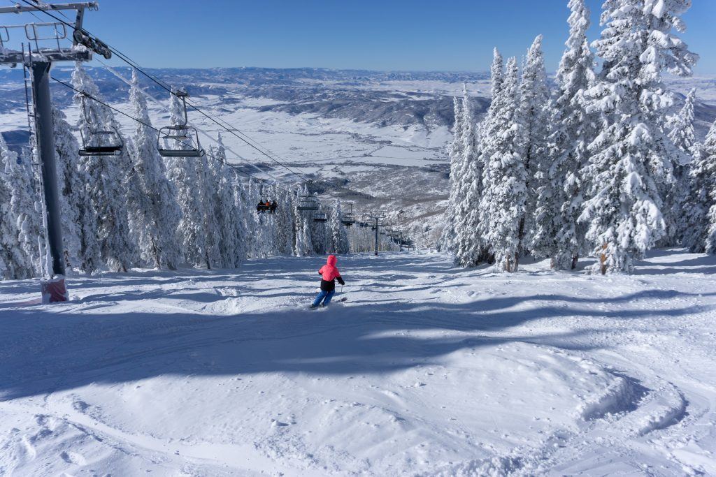 Soft snow on Sundown Liftline at Steamboat, December 2019