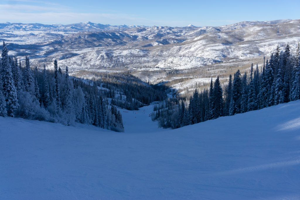 Late afternoon shade on Rainbow at Steamboat, December 2019