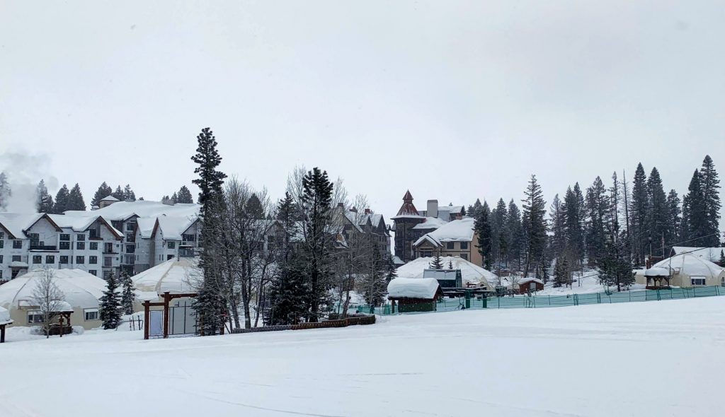 Tents and Tyvek at the Tamarack base area, February 2020