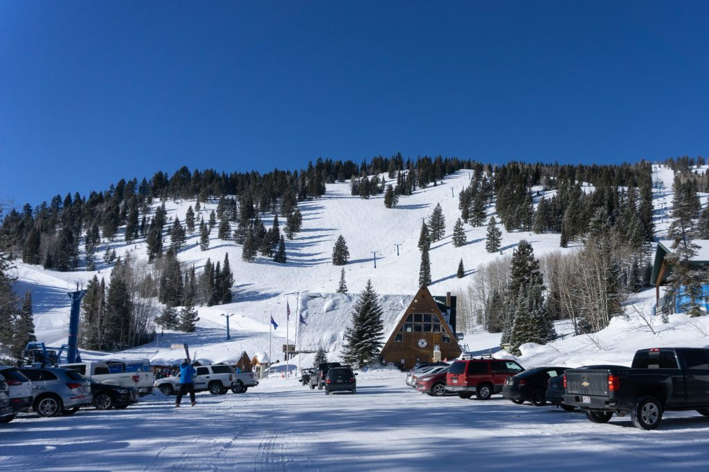 View of Beaver Mountain from the parking lot, February 2020