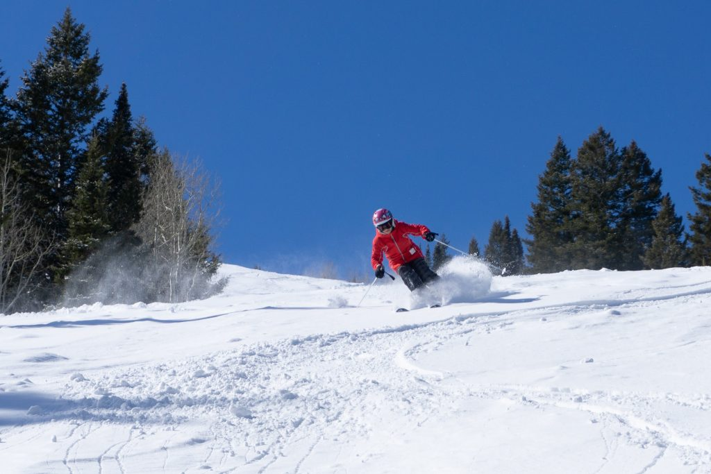 AiRung enjoying powder on Lue's at Beaver Mountain, February 2020
