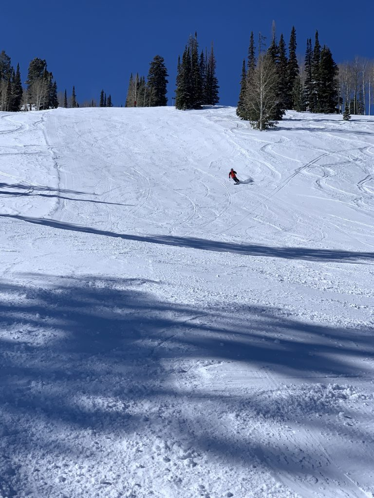Powder between the groomed runs at Beaver Mountain, February 2020