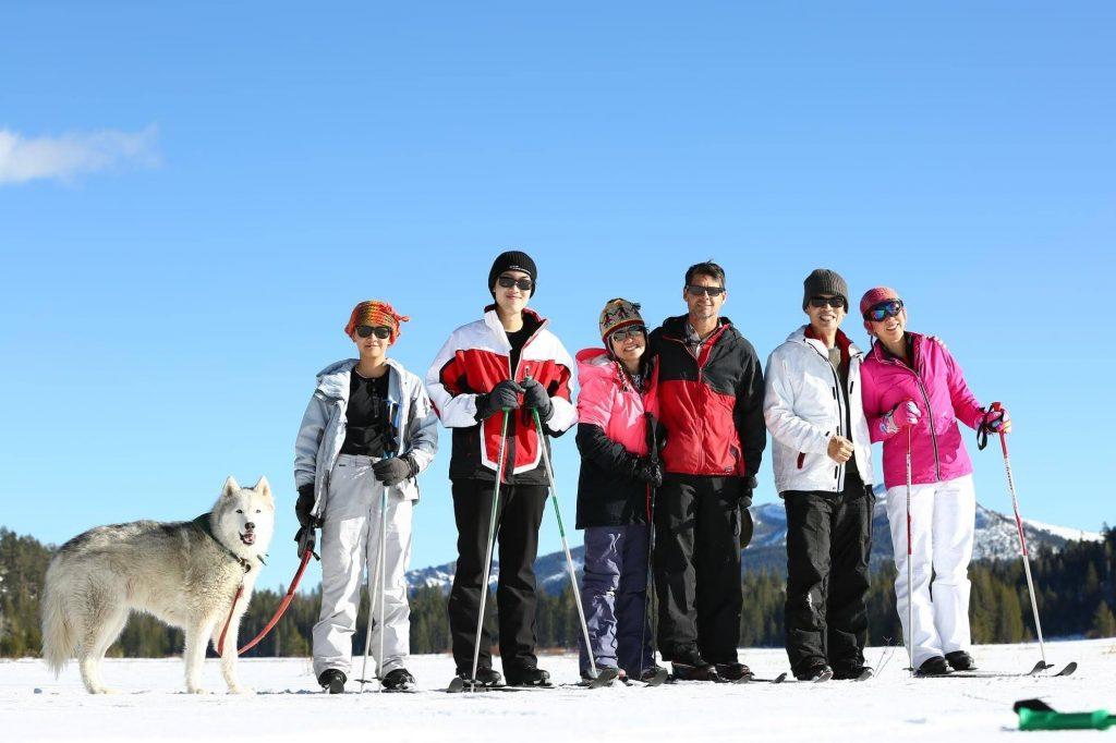 Family XC Skiing at Grass Lake, November 2020