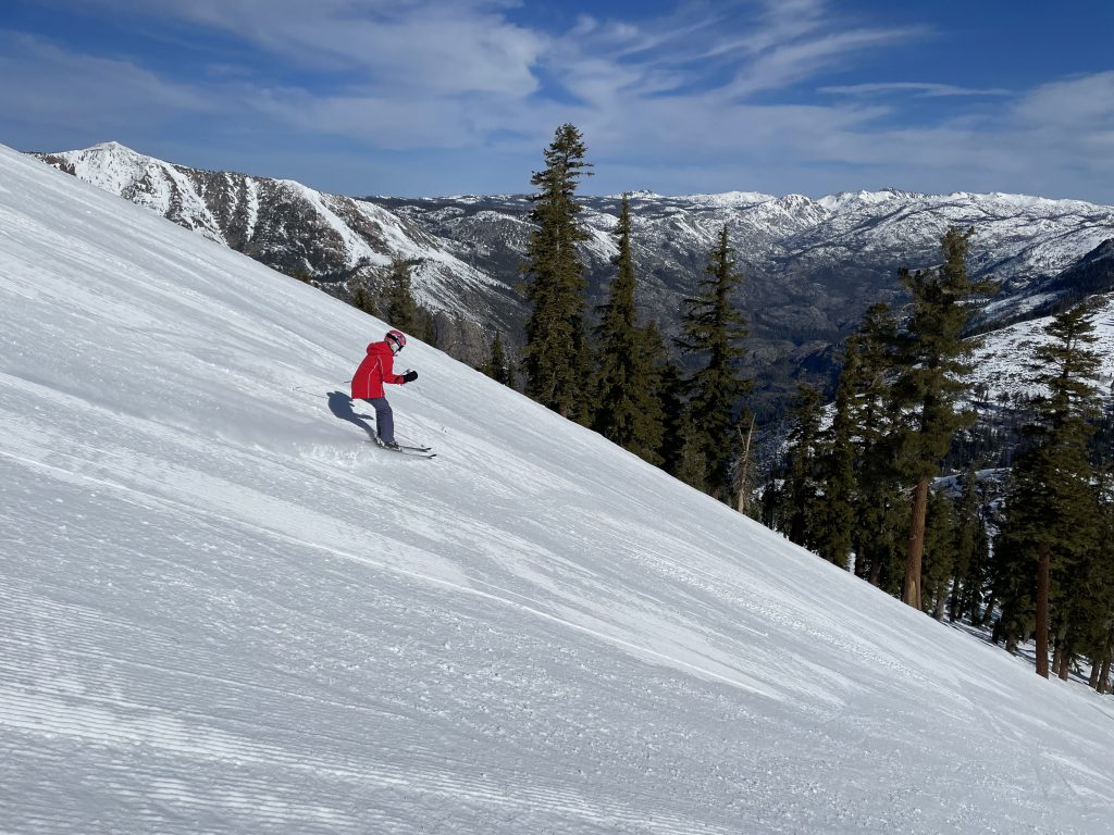 Steeper frontside groomer at Bear Valley, March 2021