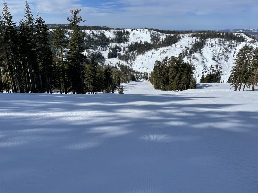 Wide-open terrain off the Polar Express at Bear Valley, March 2021