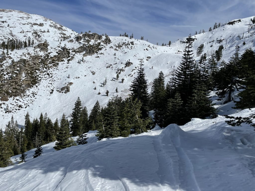 Looking over at Snow Valley from Grizzly Bowl at Bear Valley, March 2021