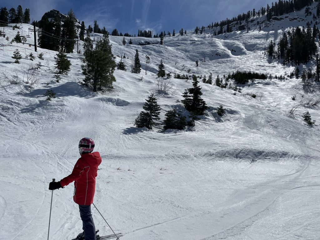 Firm conditions on Grizzly Bowl at Bear Valley, March 2021