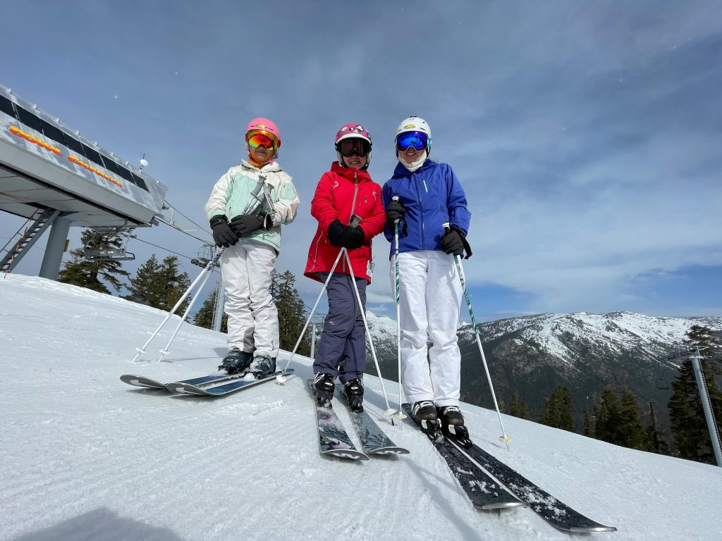 Vicky, AiRung, and Abao spring skiing at Sierra-at-Tahoe, April 2021